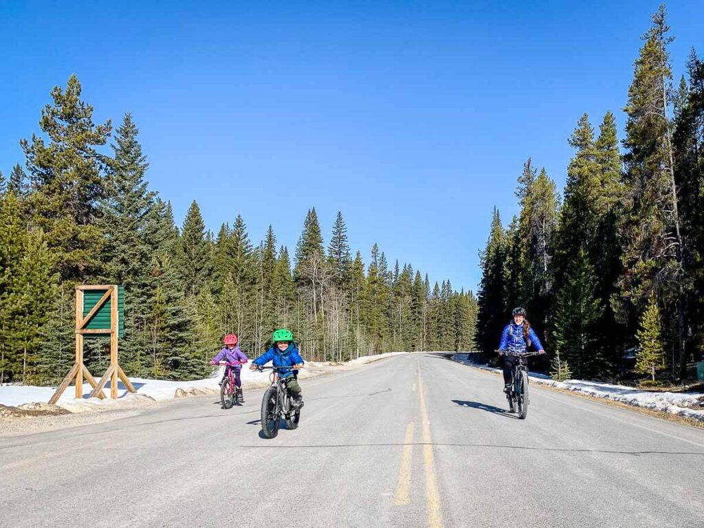Biking Bow Valley Parkway in Banff early April