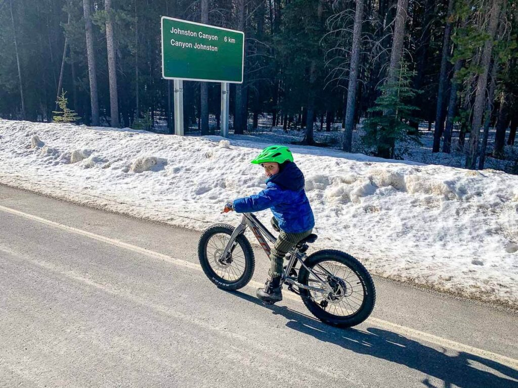 Biking Bow Valley Parkway in Banff with Kids from Castle Junction to Johnston Canyon