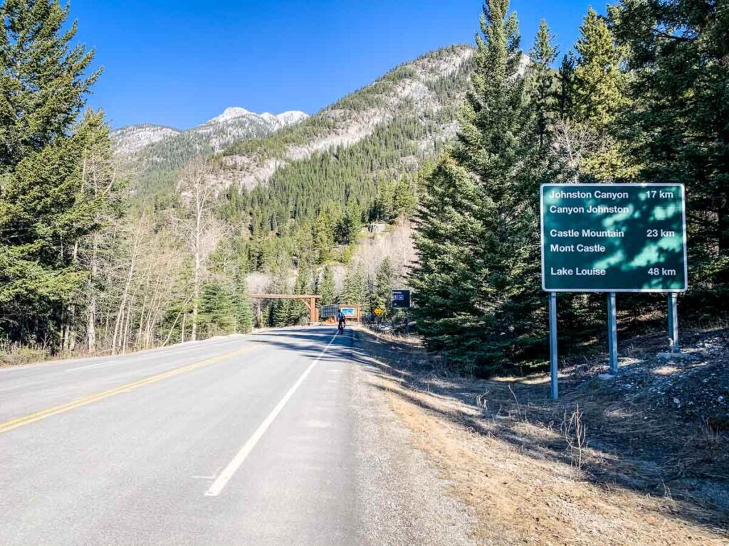 Biking Highway 1A from Fireside to Johnston Canyon