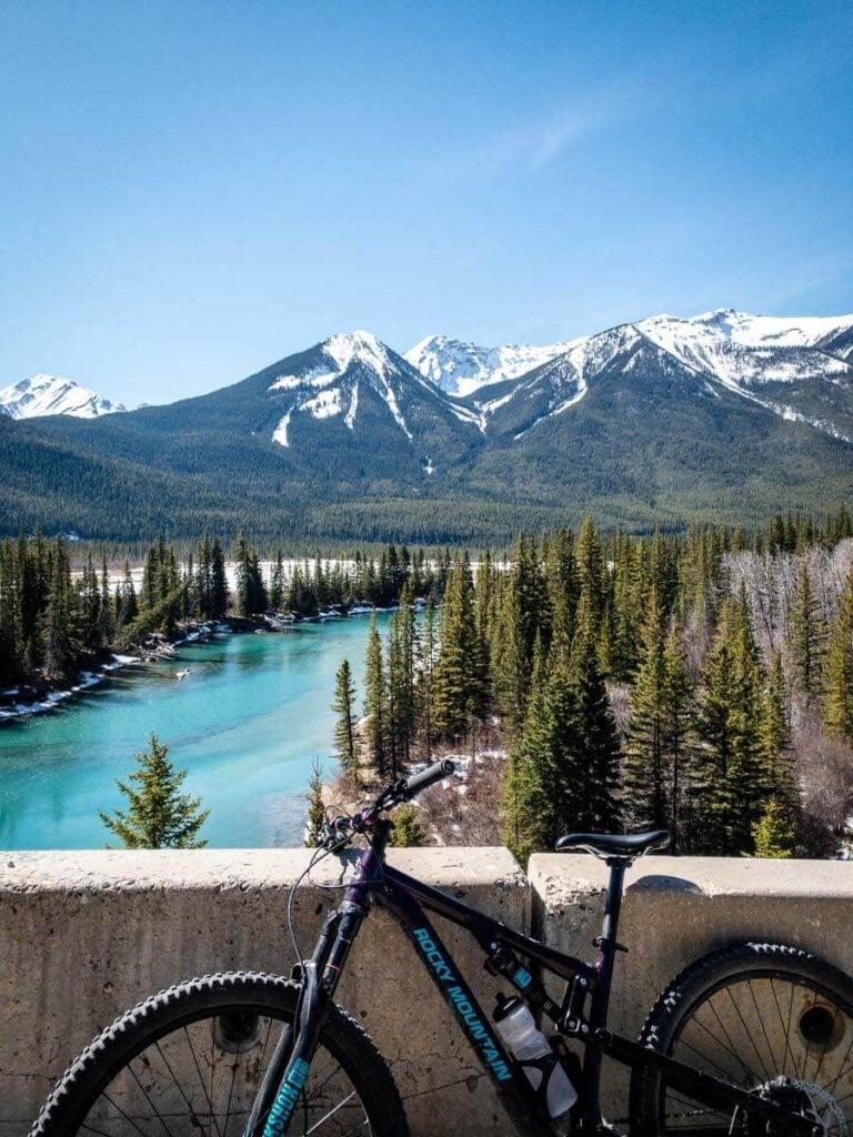 Mountain views biking highway 1A in Banff NP