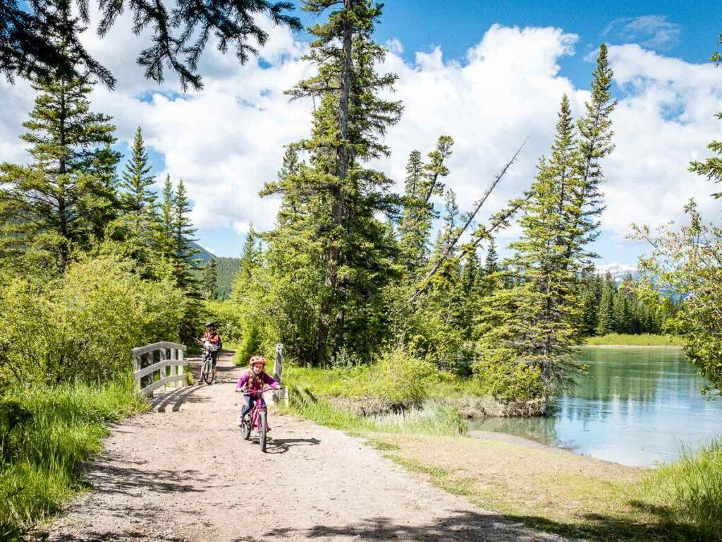 Marsh Loop in Banff for biking or hiking with kids
