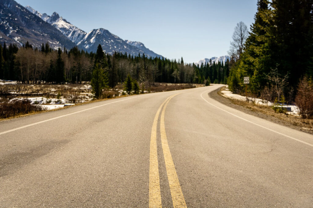 Empty Bow Valley Parkway for biking in Banff