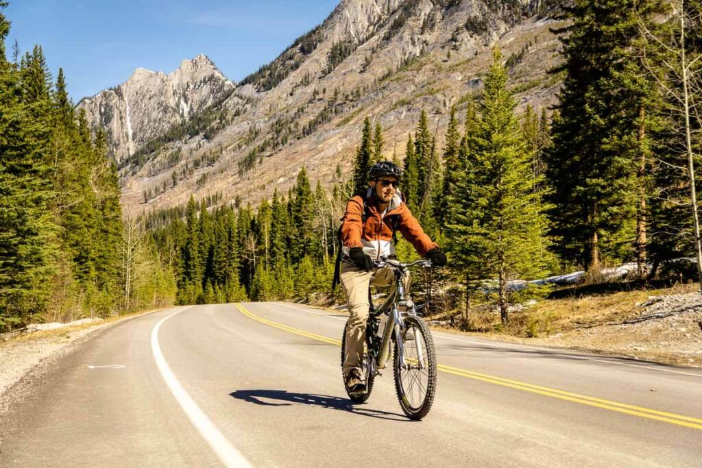 Cycling Bow Valley Parkway in Banff National Park