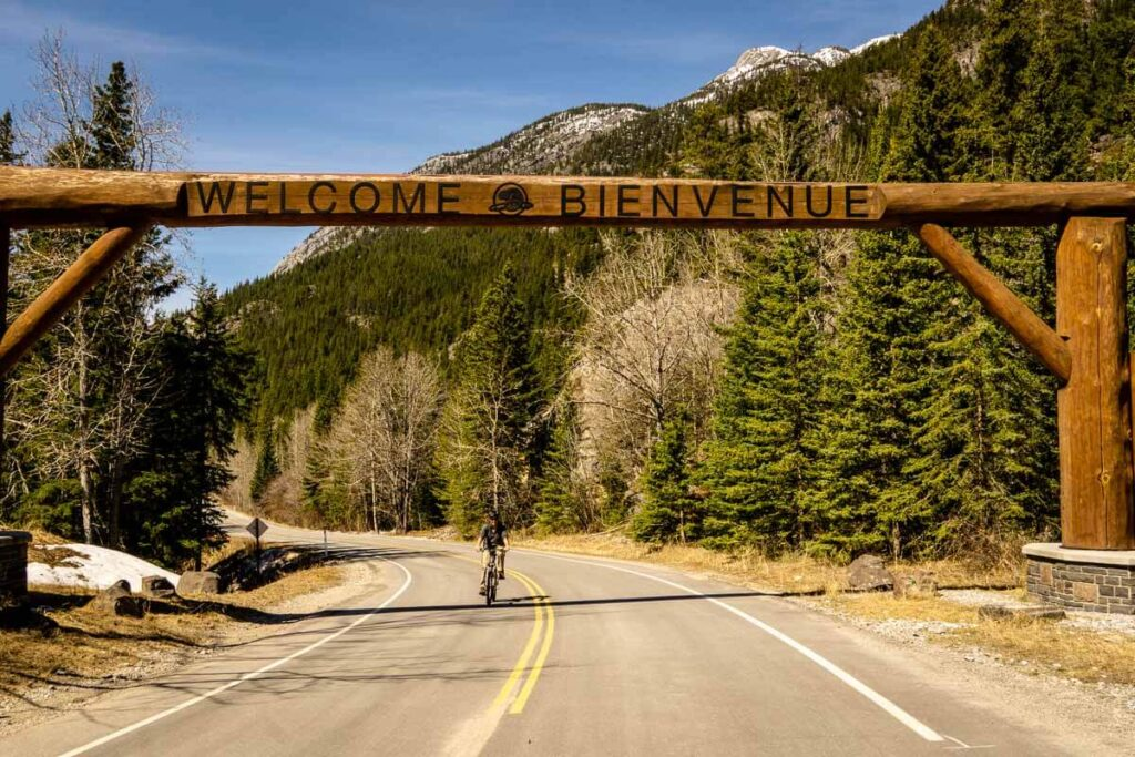 Entrance gate to Bow Valley Parkway in Banff National Park