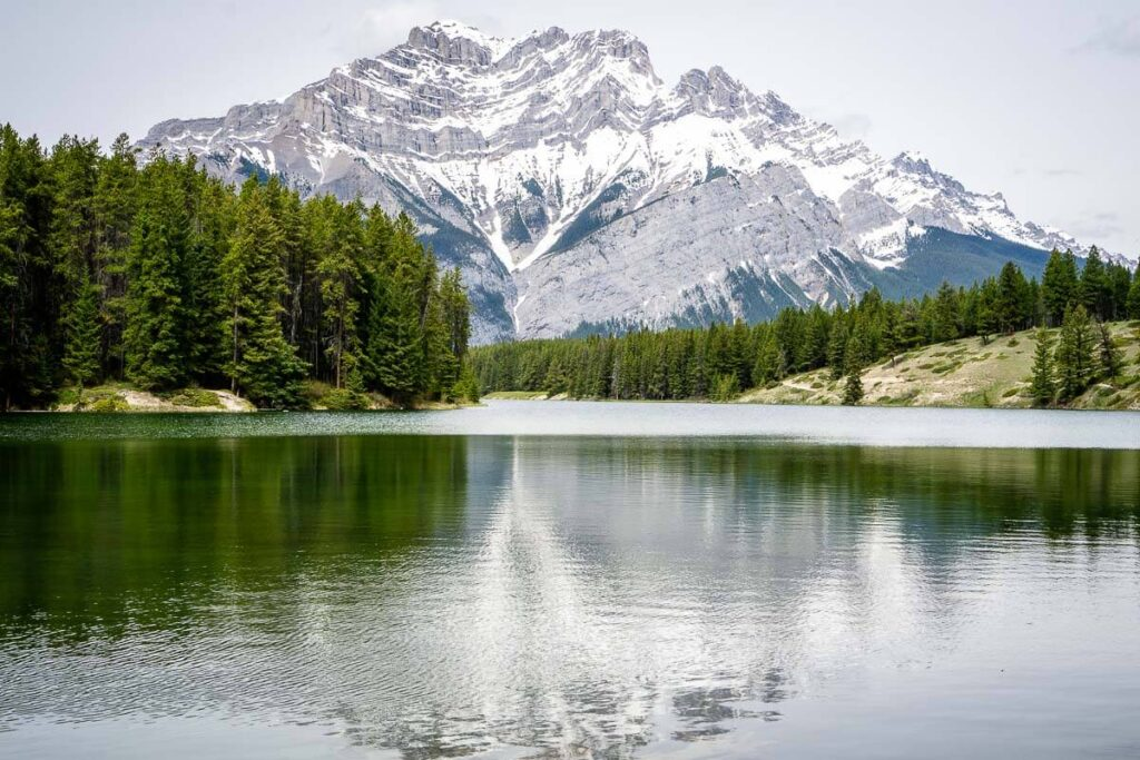 The easy hiking trail around Johnson Lake Banff is great for kids