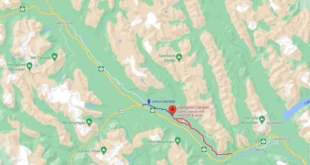 Castle Junction to Johnston Canyon Map