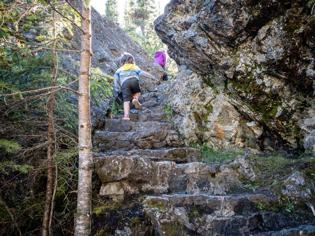 Climbing steps at Sundance Canyon - Banff area hikes with kids