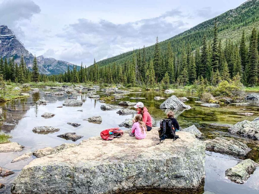 Lunch at Consolation Lakes - best Banff hiking trails with kids