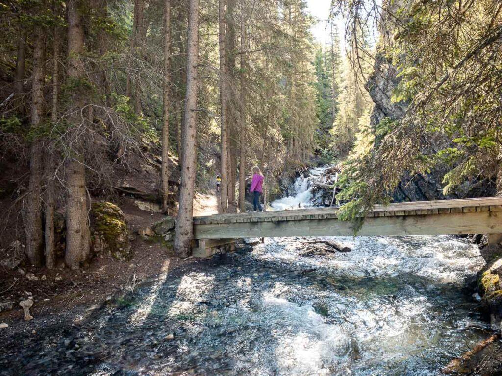 Crossing Bridge along Sundance Canyon Trail in Banff with kids