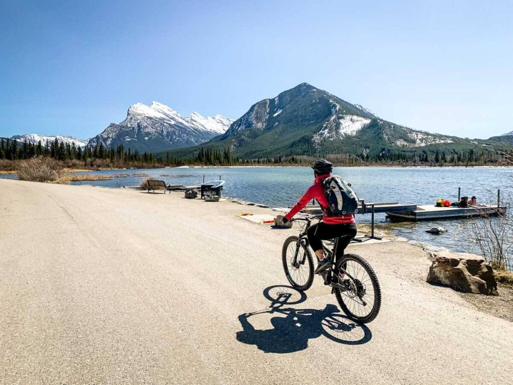 Biking on Vermilion Lakes Drive Banff National Park