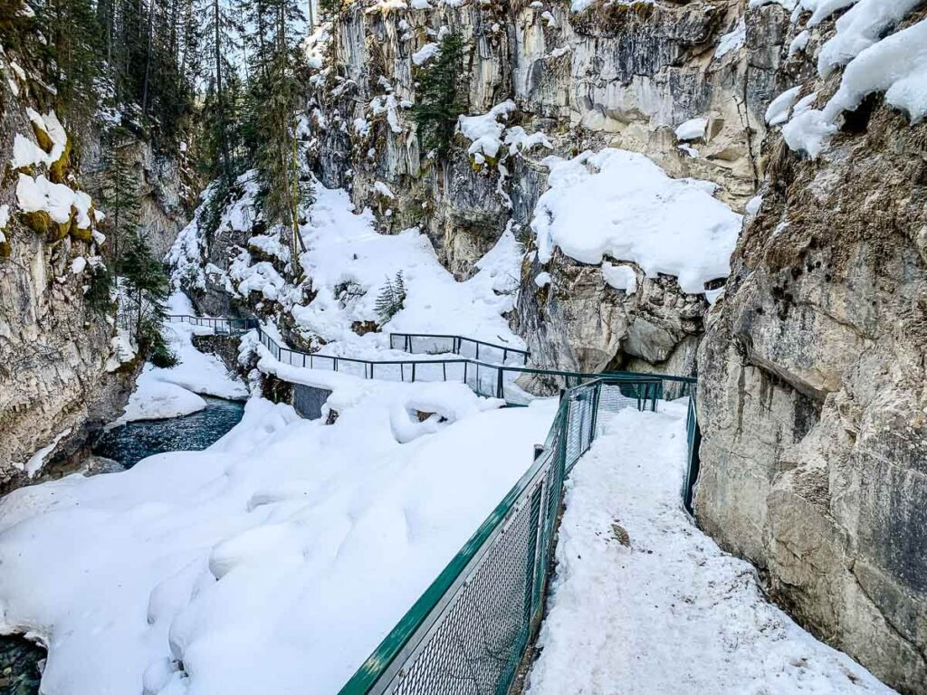 Banff Hike - Johnston Canyon in winter or spring and snow covered