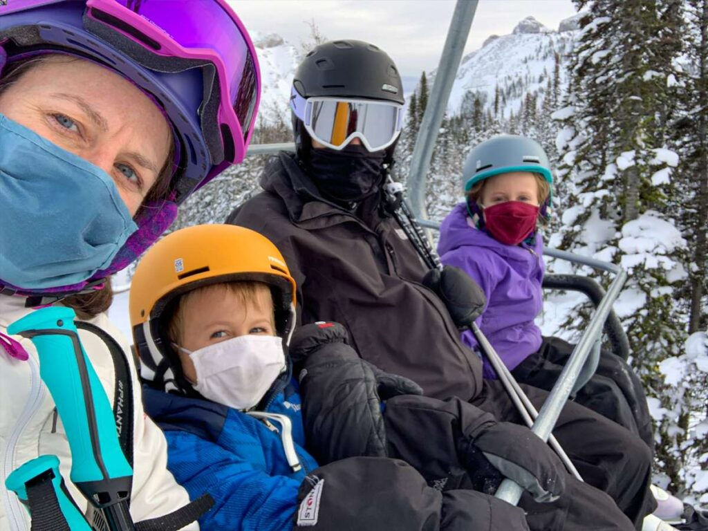 Skiing with kids at Banff Sunshine Ski Resort