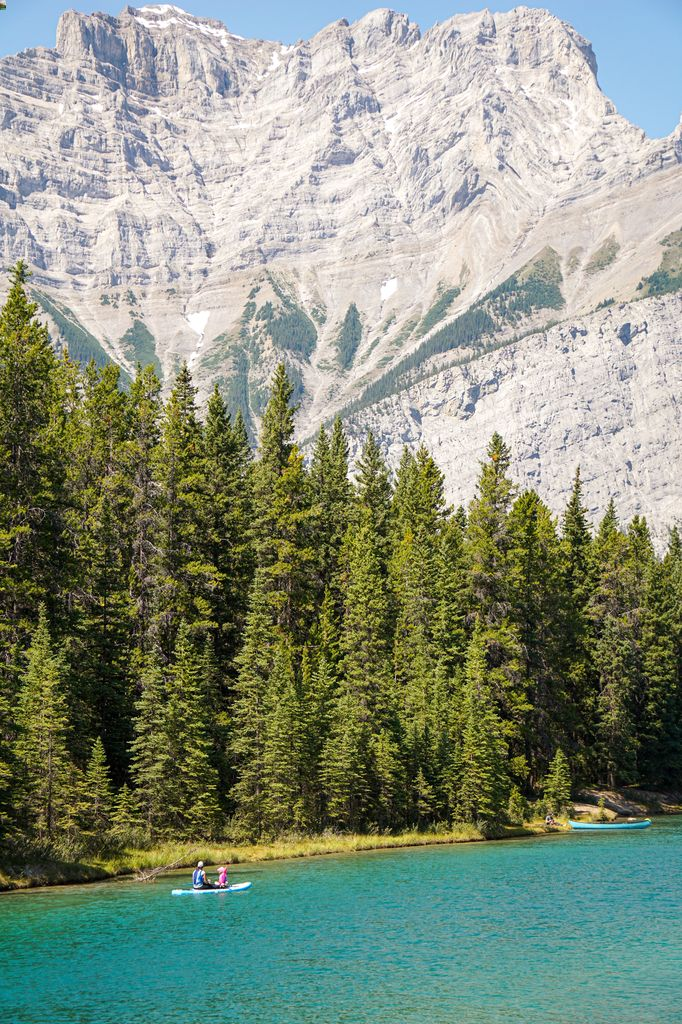 Two Jack Lake is a popular place to SUP in Banff with free parking