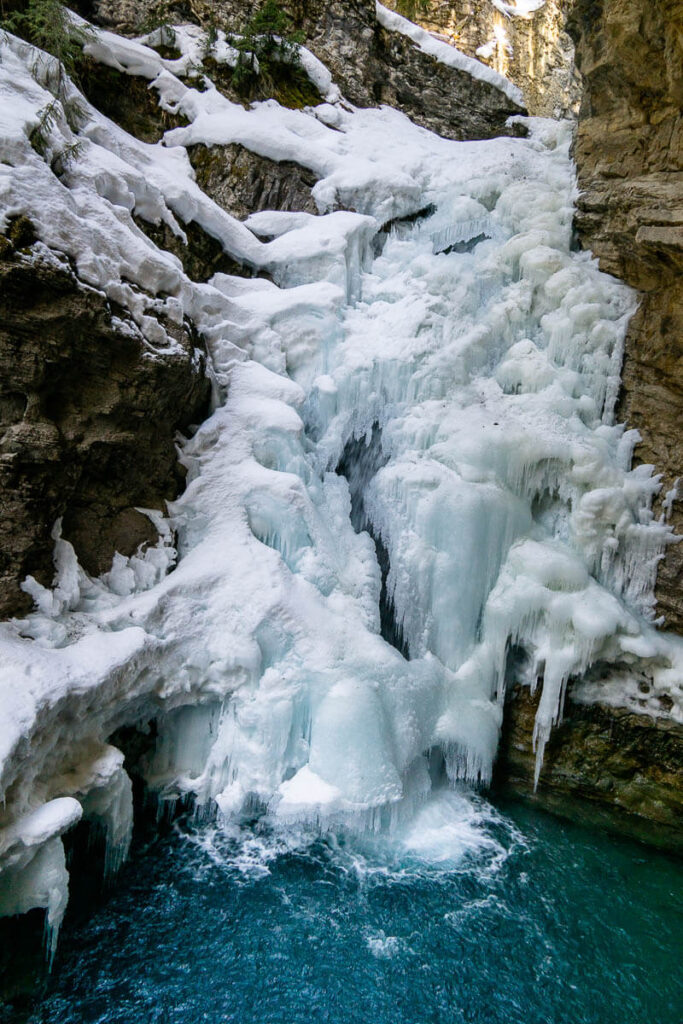 Frozen Waterfall - Lower Falls at Johnston Canyon in Banff National Park