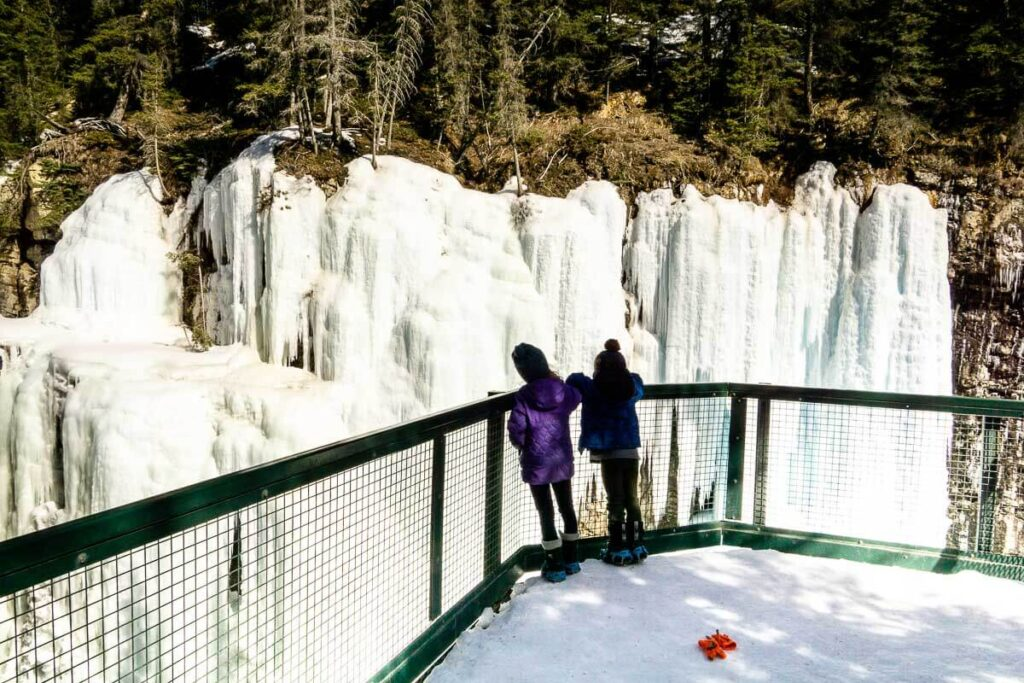 Frozen Waterfall - Upper Falls at Johnston Canyon Hike in Banff NP