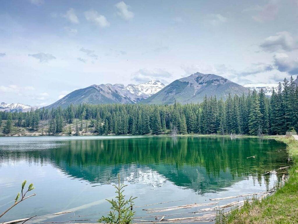 turquoise water and mountain views at Johnson Lake Banff