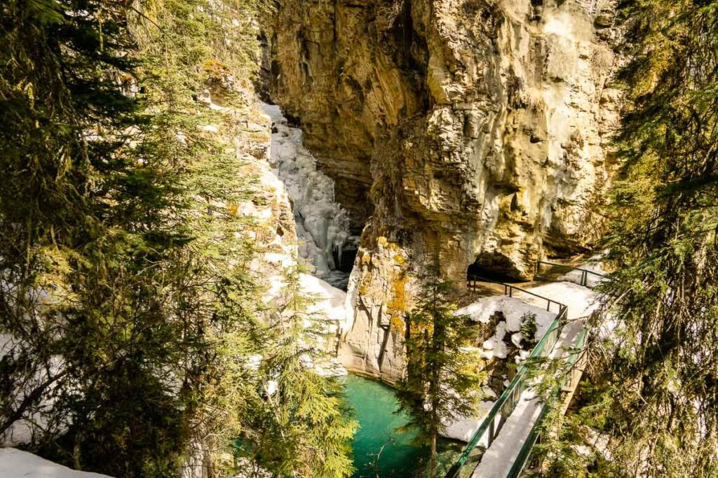 Cave Johnston Canyon Lower Falls in April