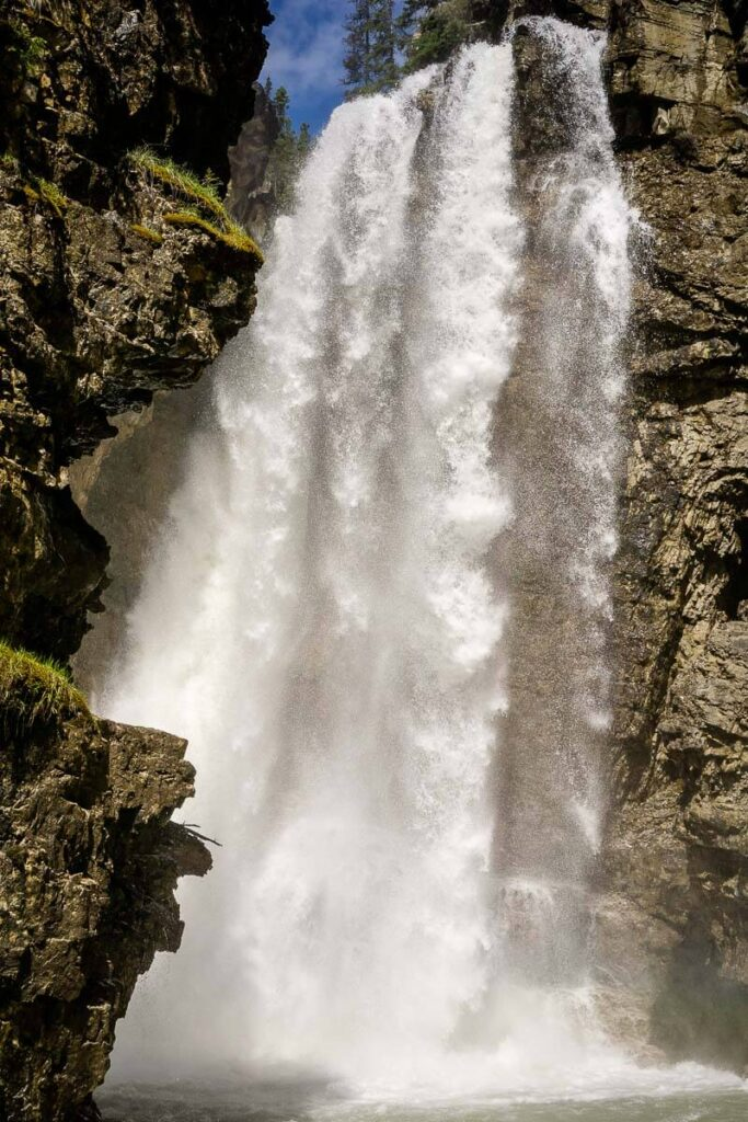 Johnston Canyon Upper Falls from view point below the falls