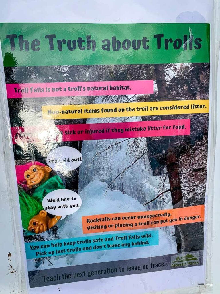 When hiking Troll Falls with kids, Alberta Parks is requesting that hikers no longer leave Troll Dolls along the trail for kids to find