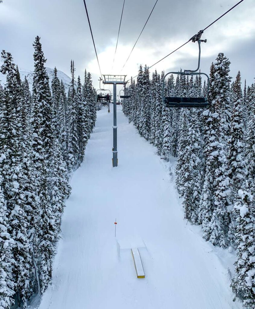 The Wolverine Chairlift has 5 of the best green runs at Sunshine Village Ski Resort in Banff, Canada