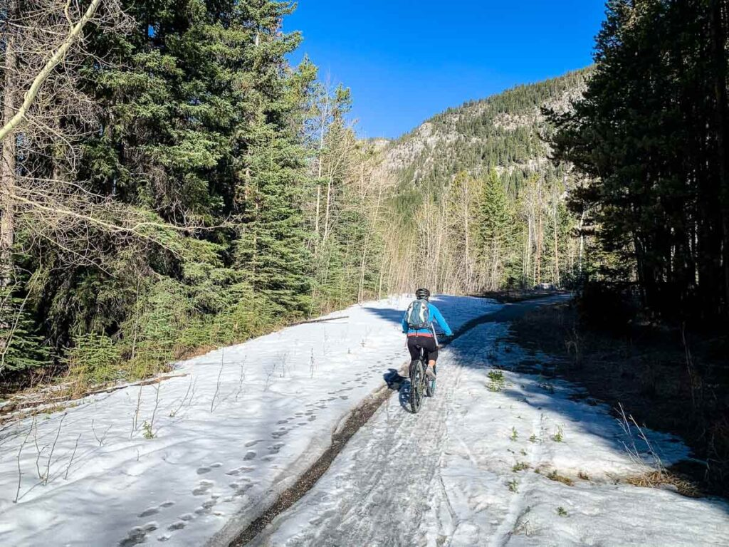 Ice covered Banff Legacy Trail