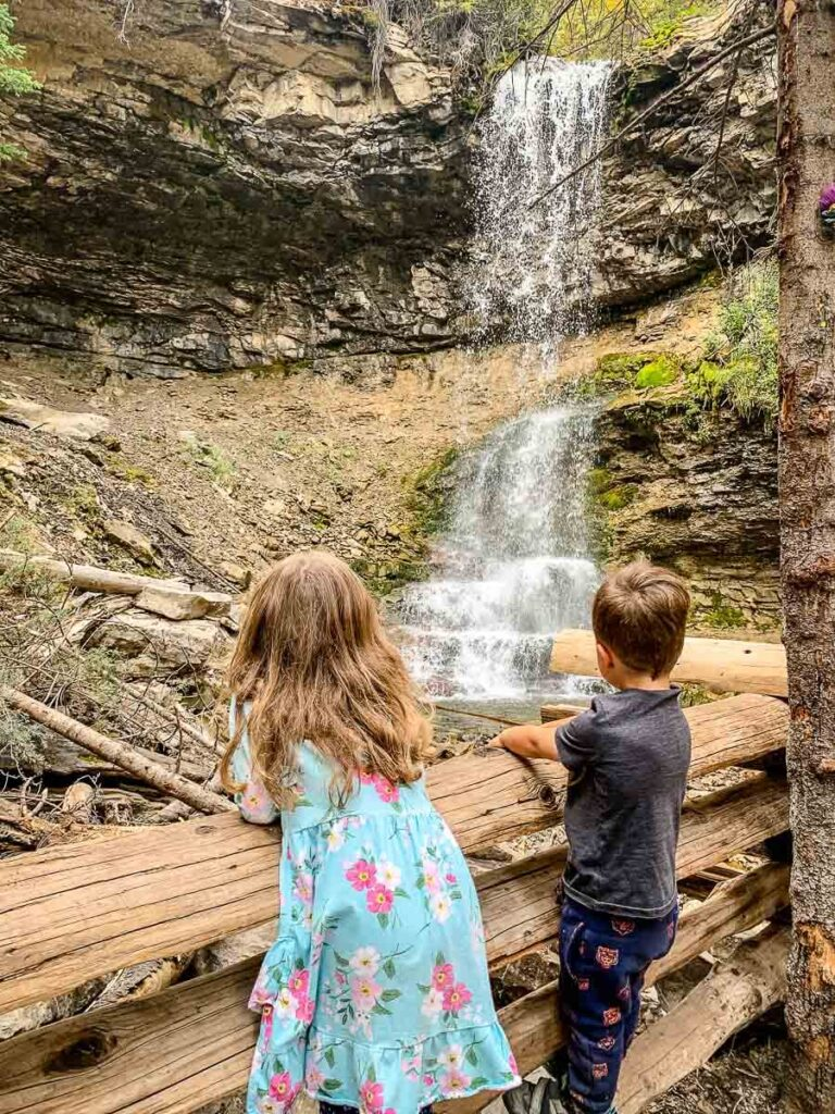 The Lower Troll Falls waterfall is the most popular of the marmot creek waterfalls in Kananaskis Country