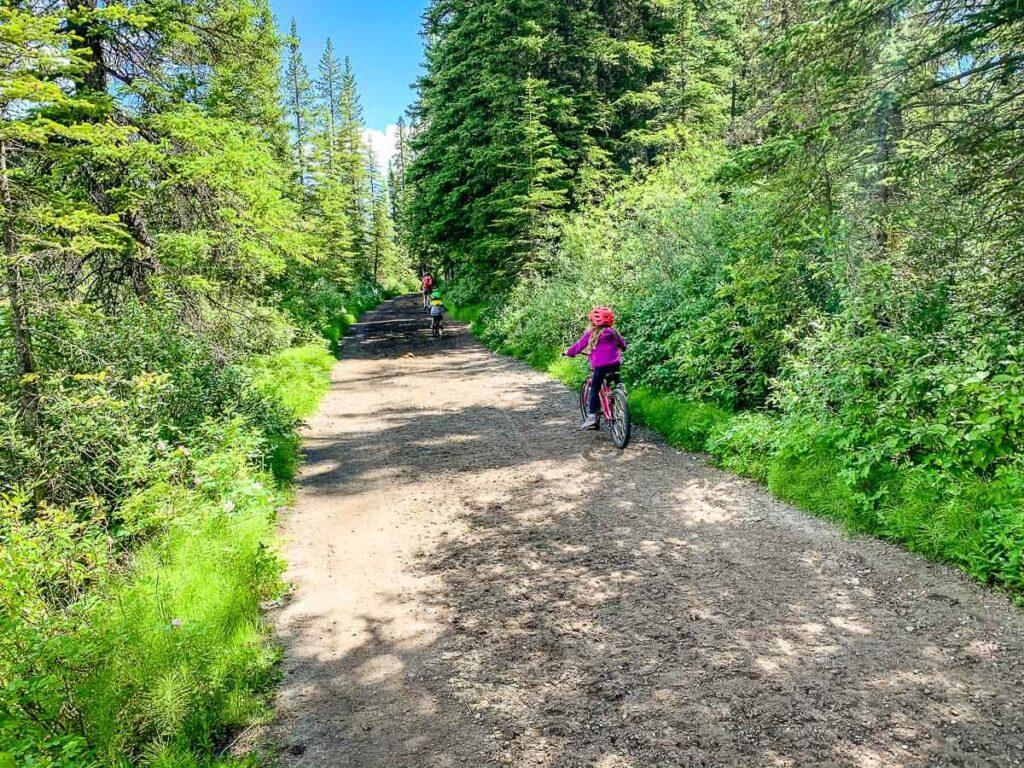 biking on Marsh Loop in Banff with kids