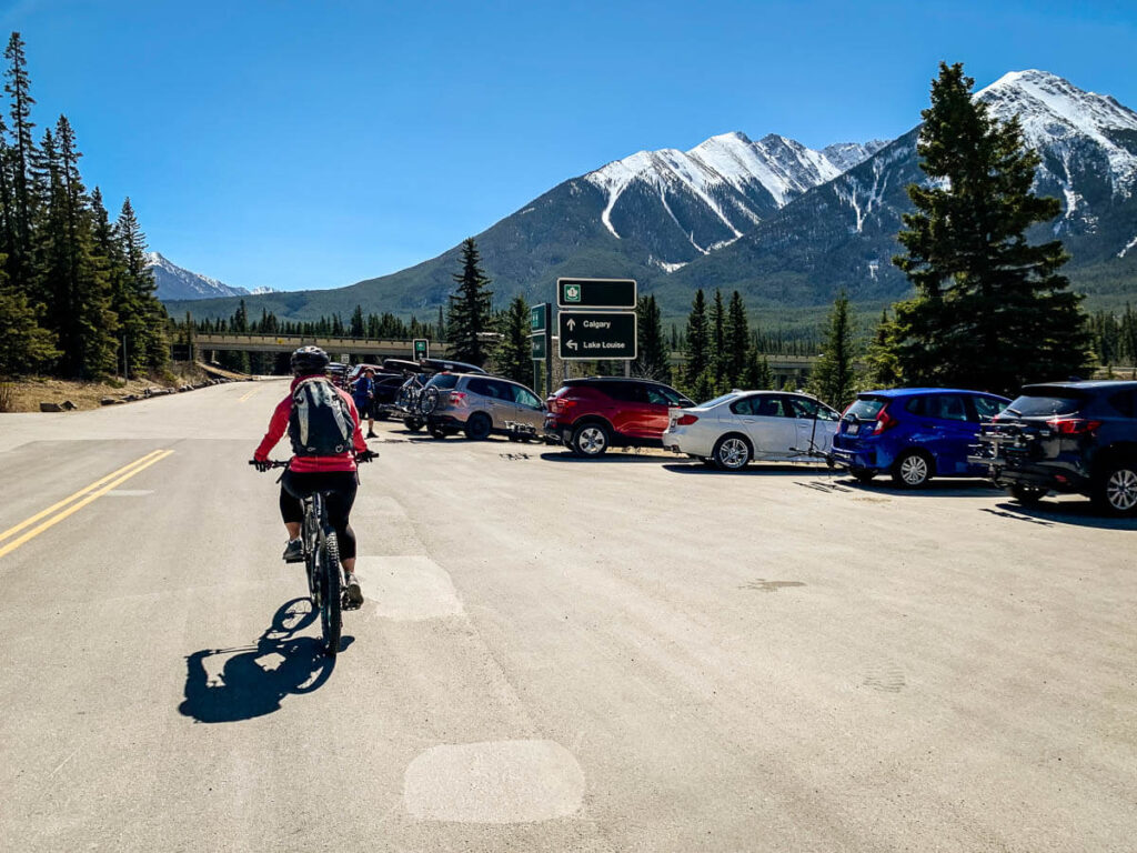 Parking for cycling Bow Valley Parkway in Banff National Park