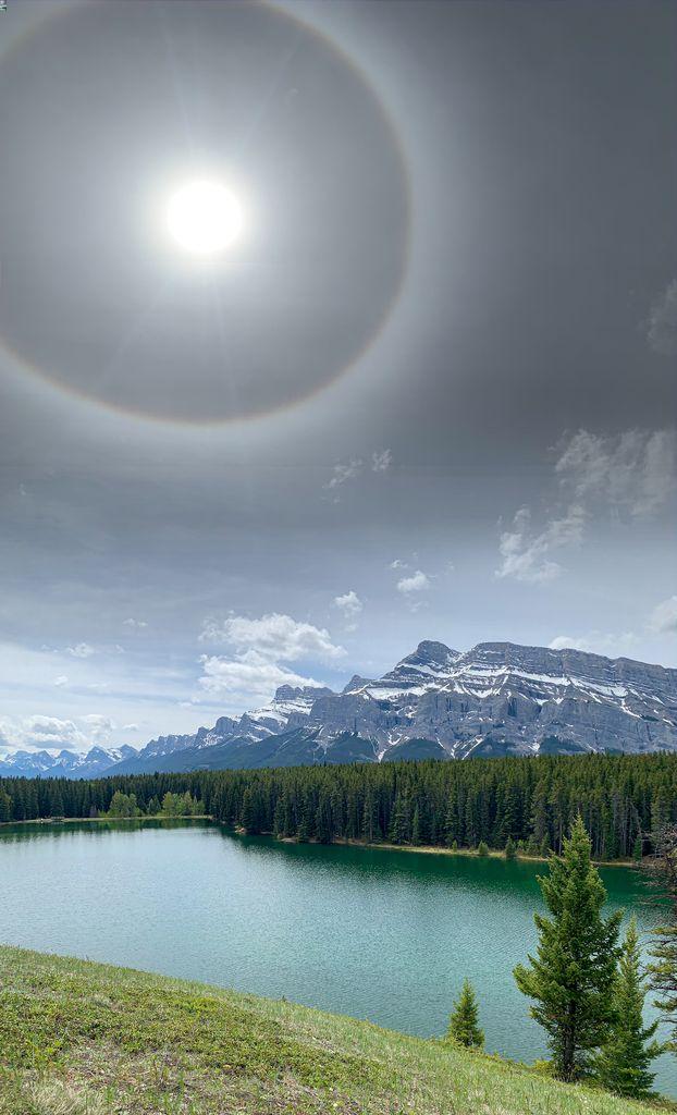 A full sundog seen over Johnson Lake in Banff Alberta