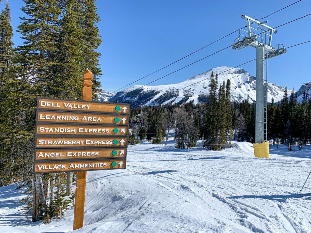 Beginners learning to ski will enjoy all the green runs on the Strawberry chairlift