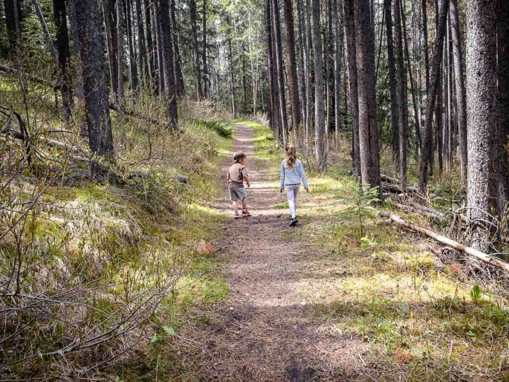 hiking Johnson Lake with kids is a fun family activity in Banff, Canada