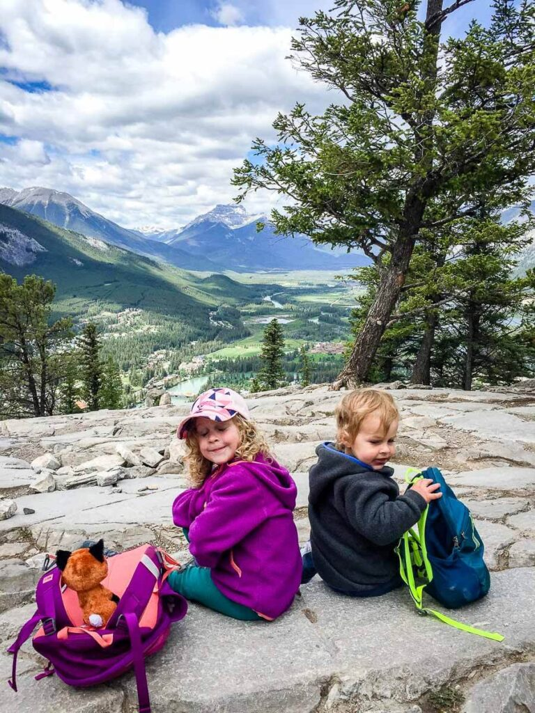 Hiking Tunnel Mountain in Banff with kids