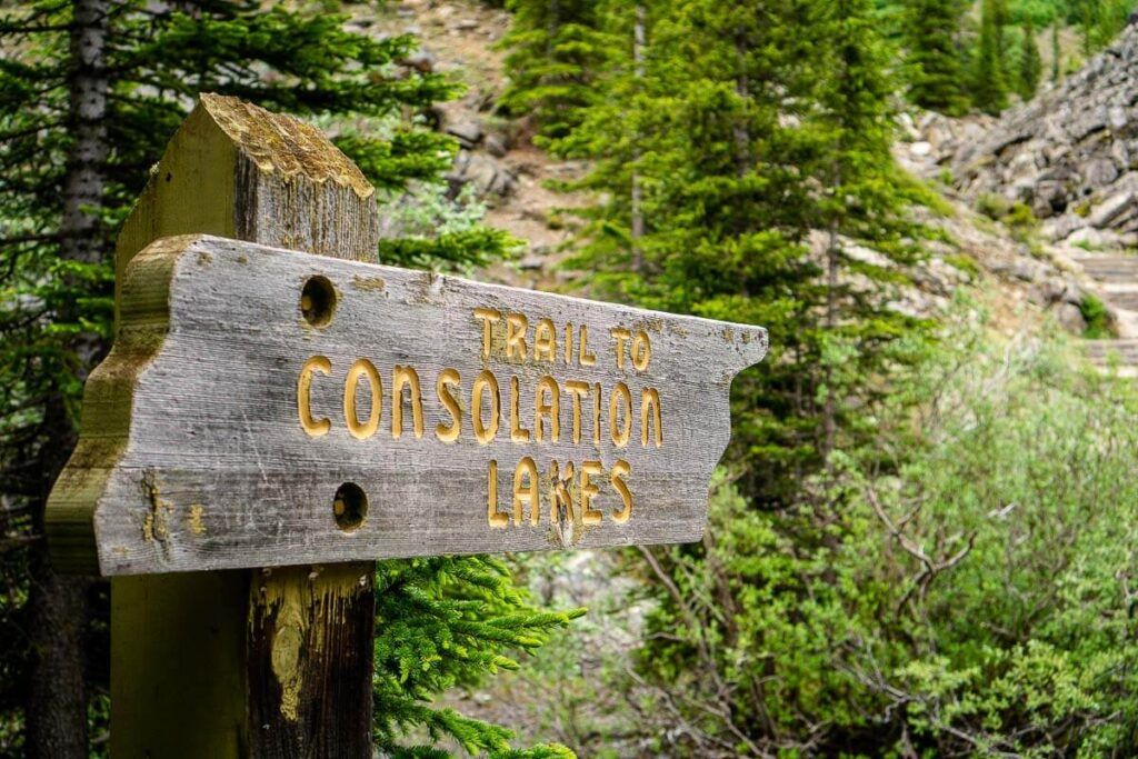 Sign at Consolation Lakes trailhead - easy Banff hike with kids