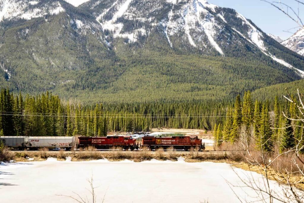 Train passes by Muleshoe Lake along Bow Valley Parkway in Banff