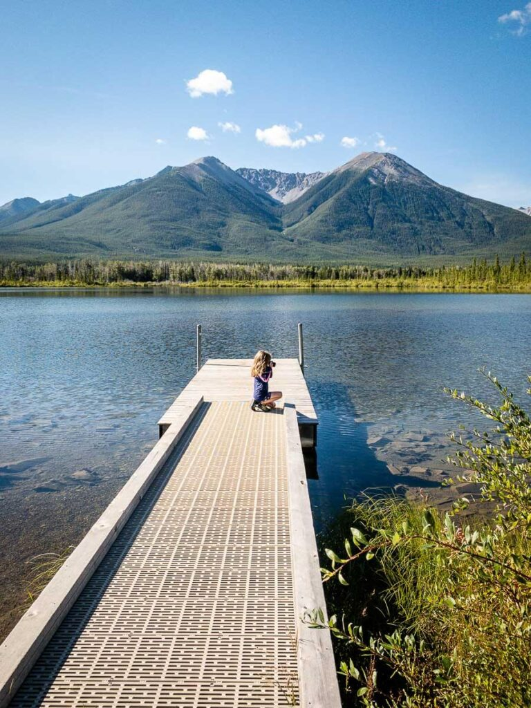 visiting Vermilion Lakes in Banff with kids