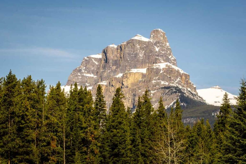 Castle Mountain Looms over Bow Valley Parkway in Banff