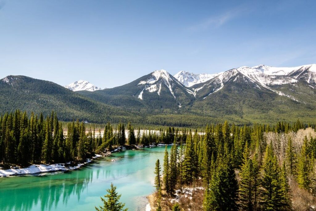 Views while cycling Highway 1A in Banff