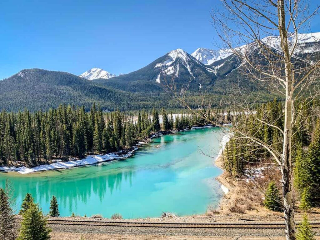 Bow River and Mountains on Bow Valley Parkway scenic drive in Banff