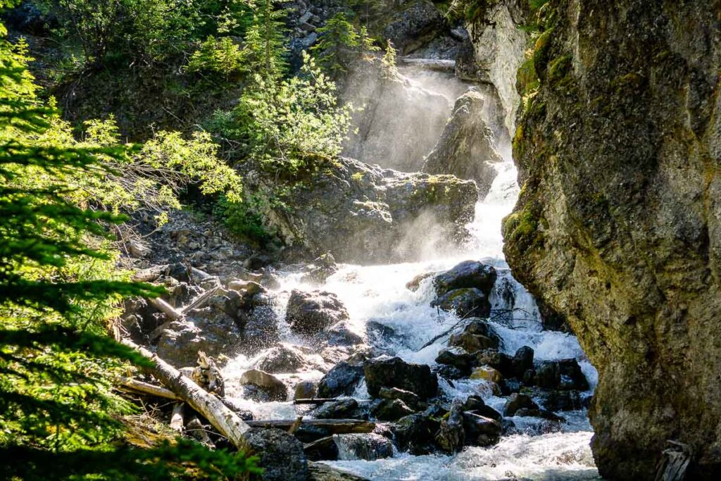 Water flowing in Sundance Canyon in Banff National Park