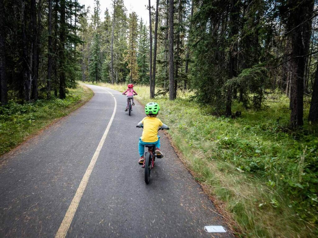 biking from Canmore to Banff with kids
