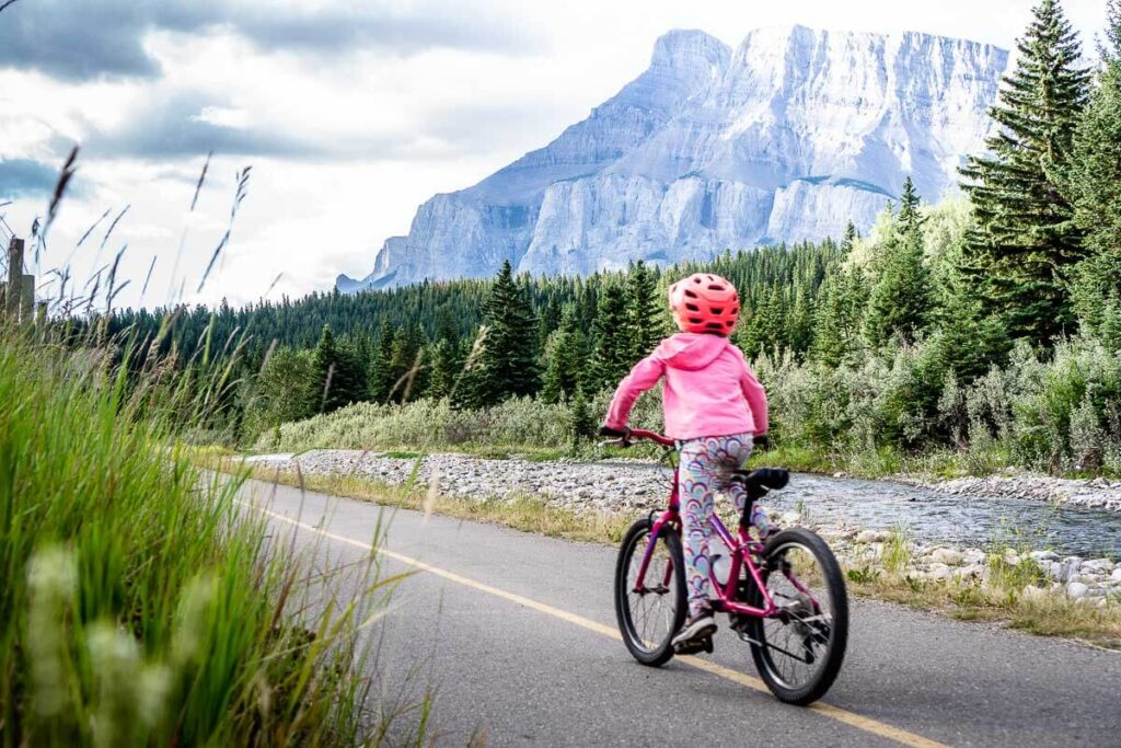 banff to canmore bike trail with kids