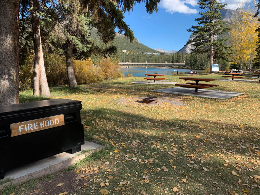 picnic tables with fire pits in Banff