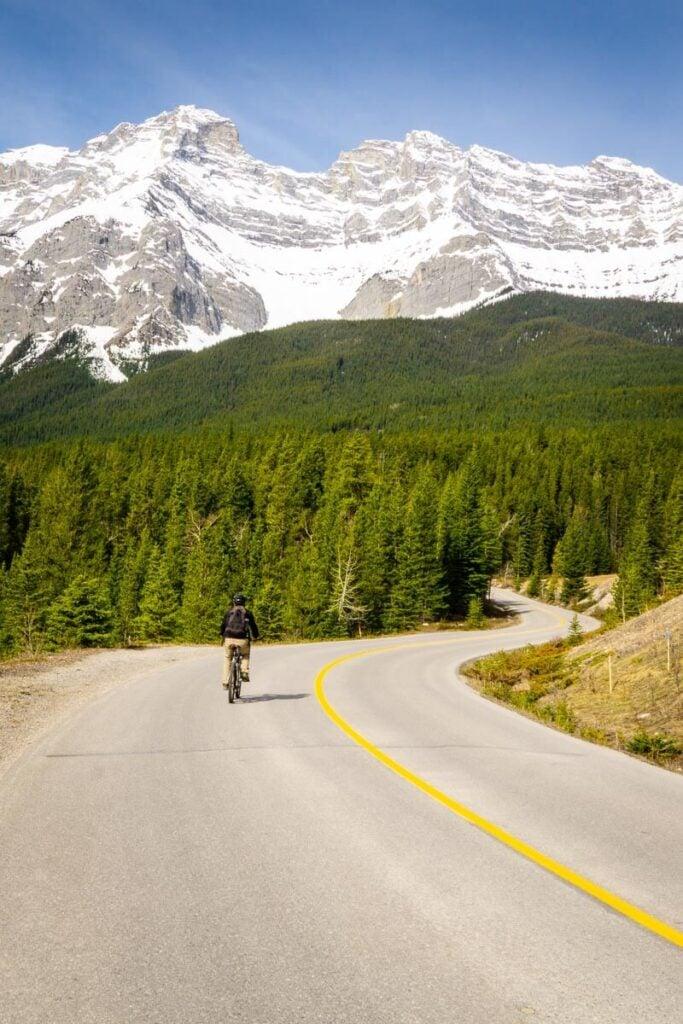 Cycling Lake Minnewanka Road to Lower Bankhead, Banff National Park, Canada