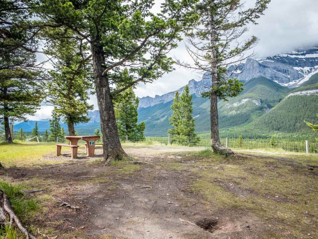 Valleyview picnic area along Banff Legacy Trail