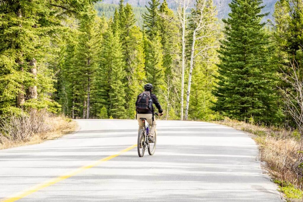 Biking Minnewanka Loop in Banff National Park