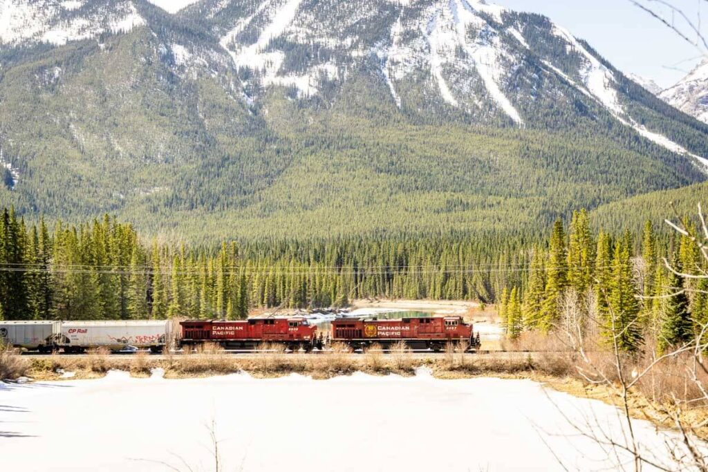 CPR train passing by Muleshoe Picnic Area in Banff