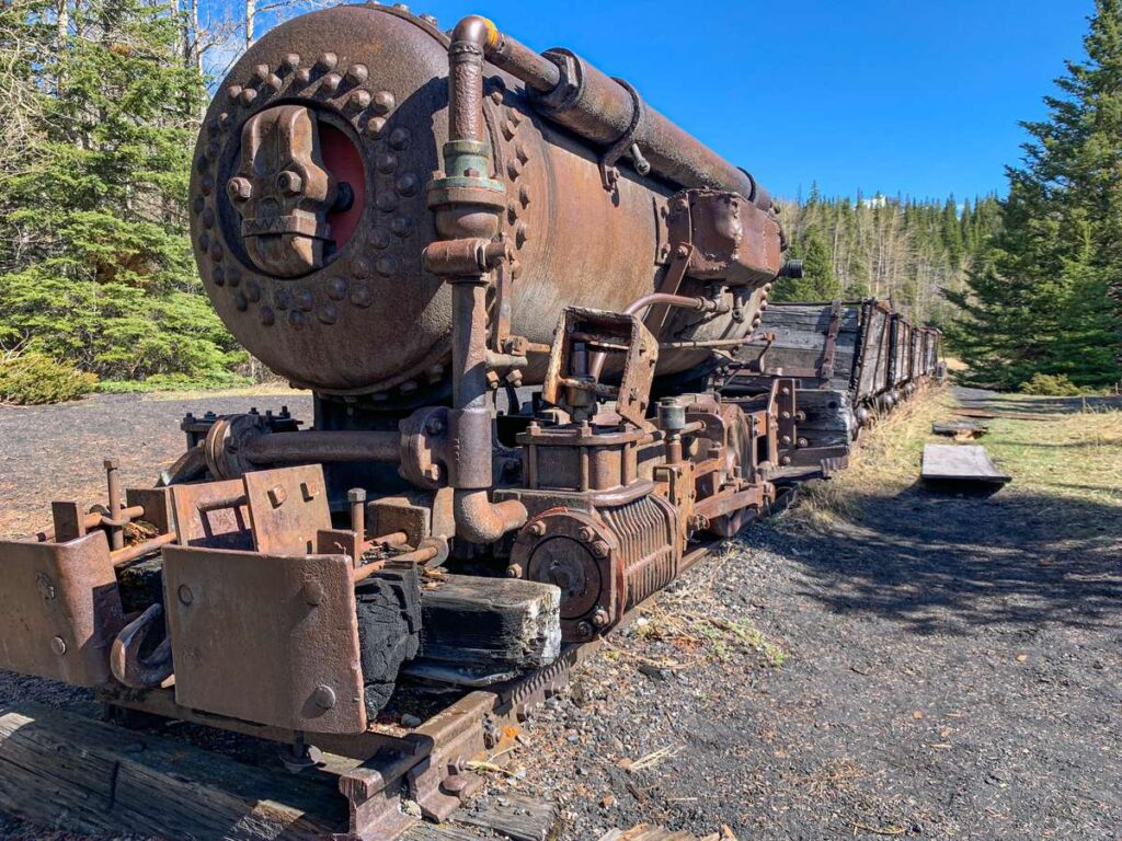 A compressed air locomotive from the Old Canmore Mine - currently located in the Lower Bankhead hike in Banff National Park