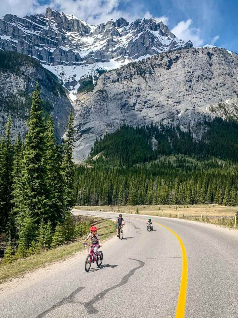 Cycling Minnewanka Loop in Banff with Kids