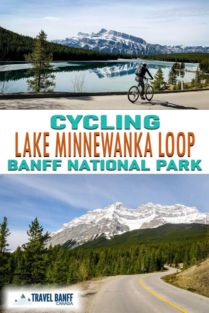 Cycling the Lake Minnewanka Loop in Banff National Park. This is a popular road cycling route in Banff.