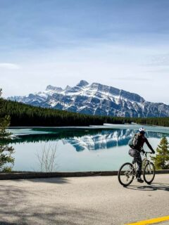 Cycling Lake Minnewanka Loop past Two Jack Lake in Banff